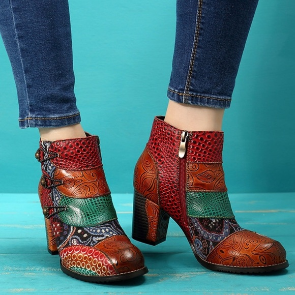 Socofy Boho Patchwork 4 Ankle Boots
